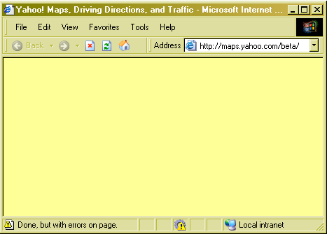 Screenshot of yahoo maps showing a blank page and a script error