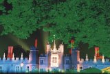 Hampton court lit in coloured lights